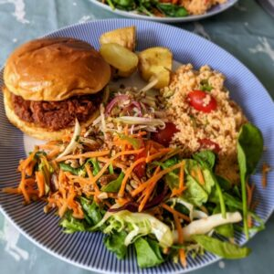 BBQ Pulled Pork with salads