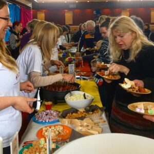 Buffet Catering Table with Volunteers