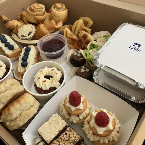 Combo Savoury Sweet Afternoon Tea Box Table Event Catering Belfast Northern Ireland Food Deliveries