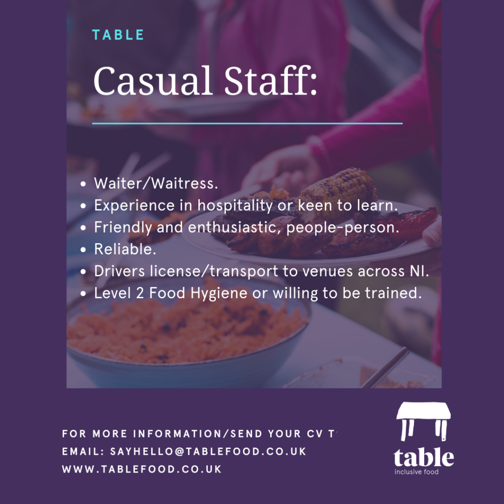 Table Belfast Casual Catering Staff